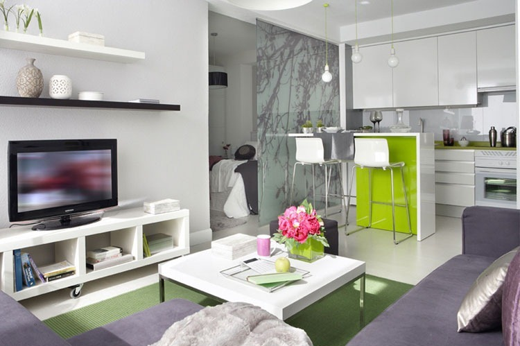 Modern interior design for m small apartment in spain