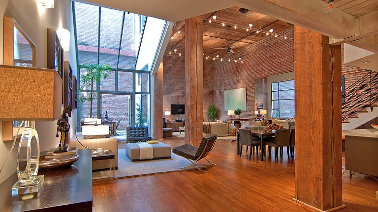 luxurious apartment with brick wall interior