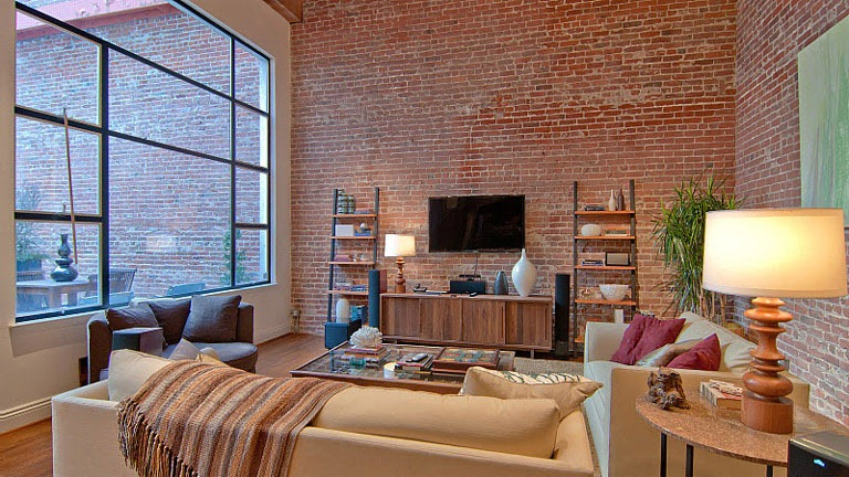 Luxurious apartment with brick wall interior for Interior brick wall designs