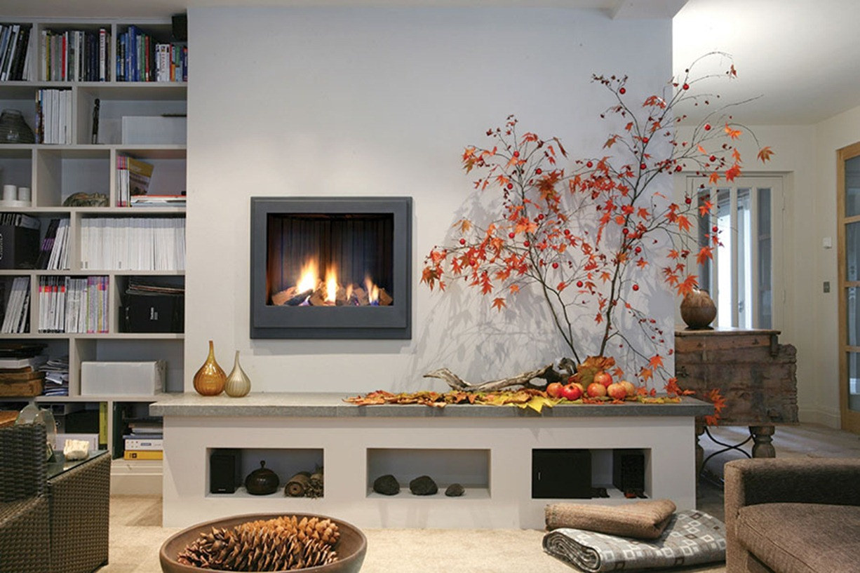 Masculine interior design with imagination - Living room with fireplace ...