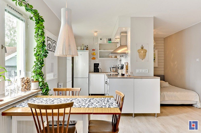 Tiny studio apartment with swedish charm for Small efficiency apartment