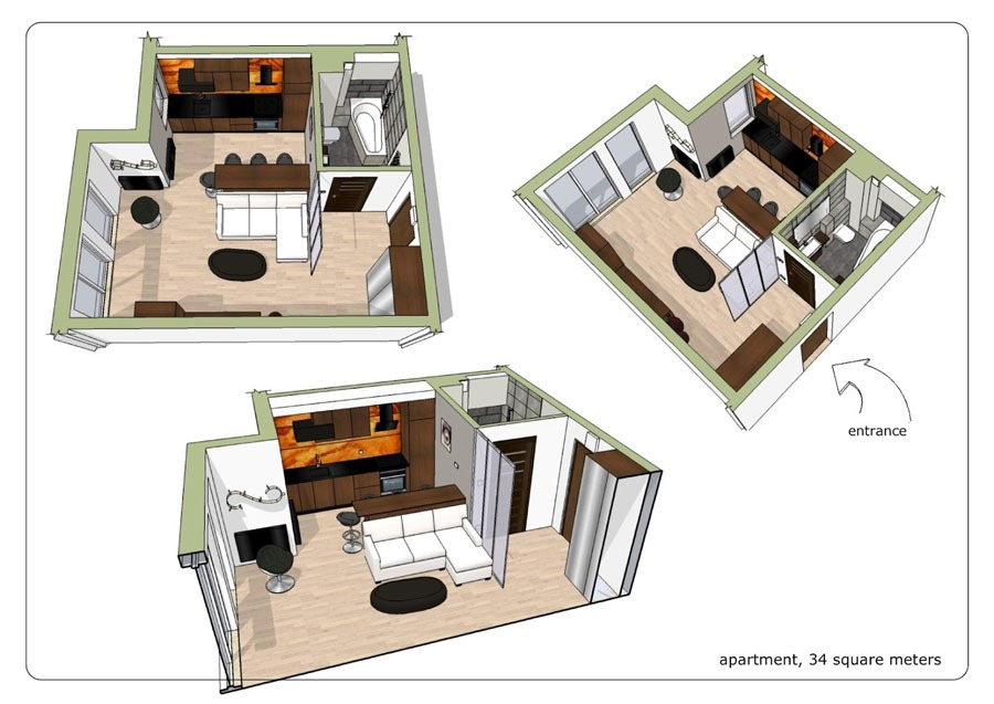 Small studio apartment with elegant black and white for Small studio apartment floor plans