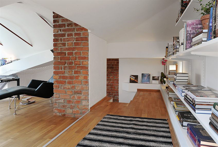 Swedish Interior two level loft apartment in swedish style