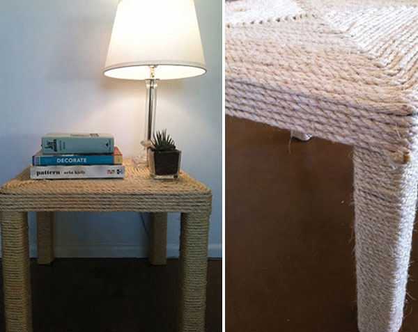 bedside table made from sisal