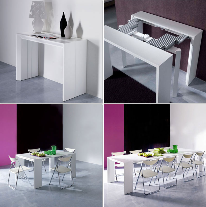 Convertible tables smart and modern solutions for small for Table salle a manger escamotable
