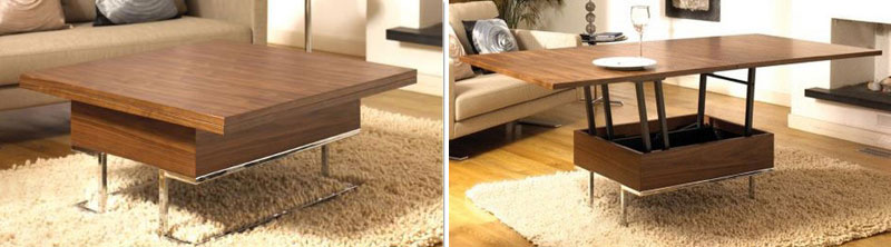convertible coffee table transforms to dining table