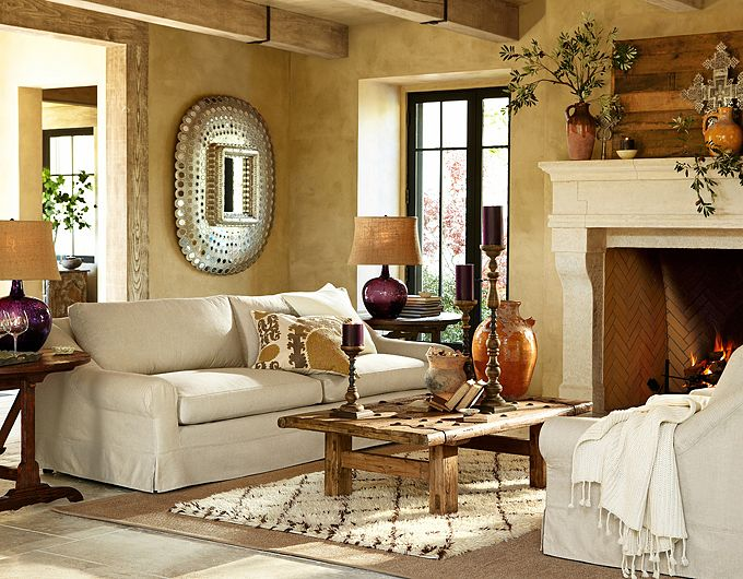 28 elegant and cozy interior designs by pottery barn for Pottery barn style living room ideas