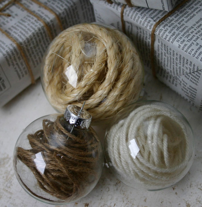 glass ball and sisal rope decoration