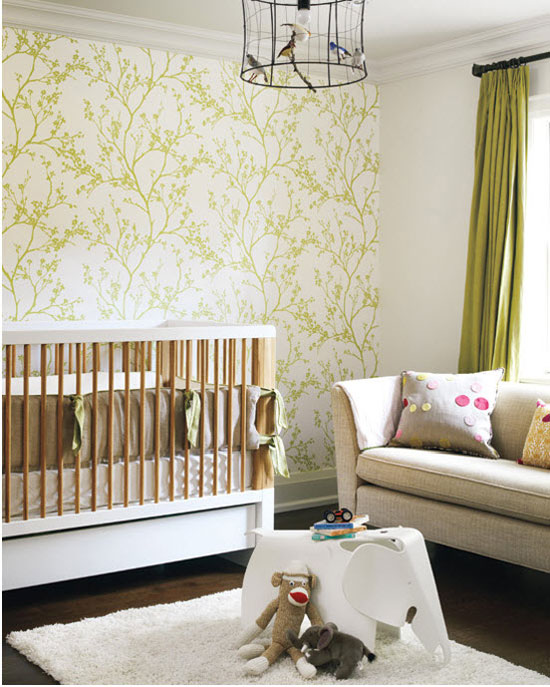 green wall baby nursery