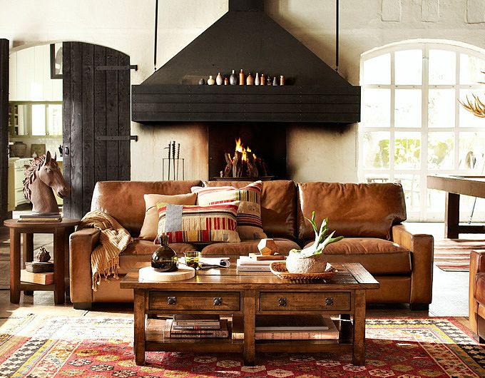 28 elegant and cozy interior designs by pottery barn for Barn style interior design