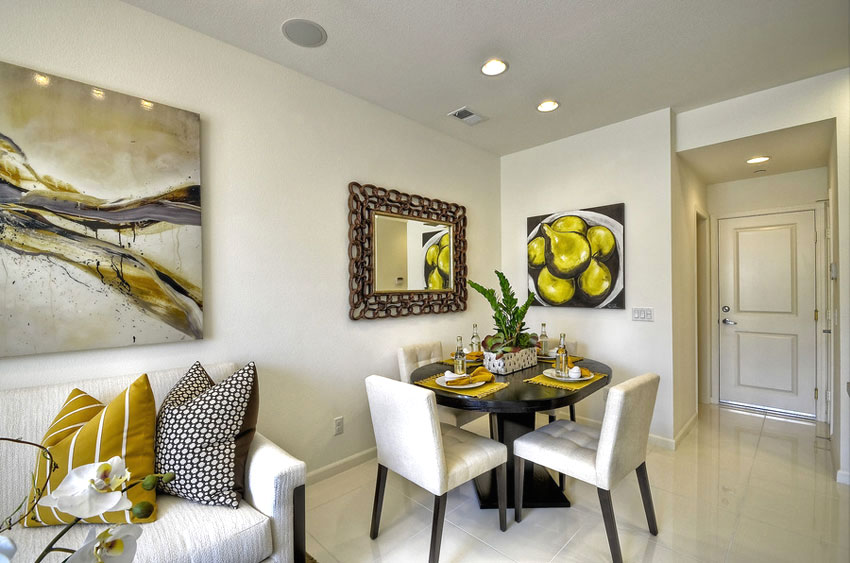 interior design with yellow accents