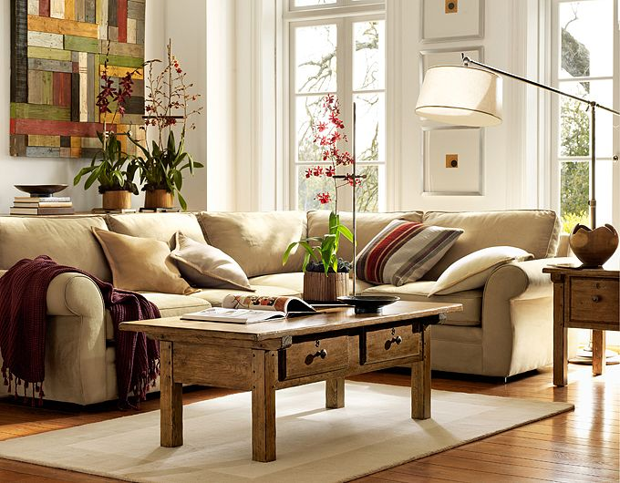 28 elegant and cozy interior designs by pottery barn - Cool pottery barn living room designs ...