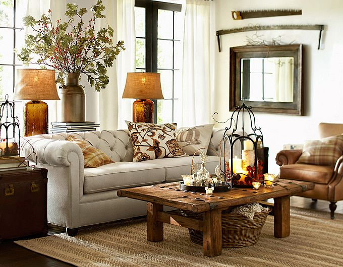Living room design by pottery barn company