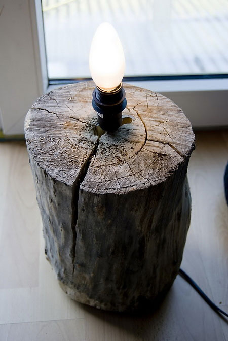 Super Easy Way to Create a Stylish Log Lamp