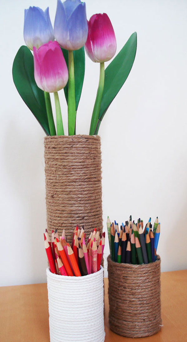 pencil holder and flower vase from sisal rope
