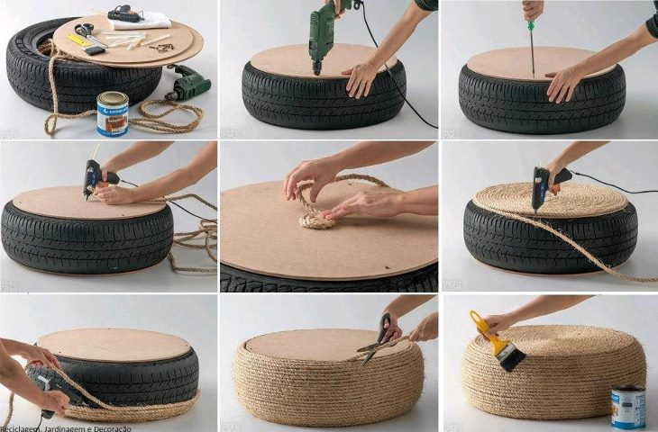pouffe made from sisal and car tire