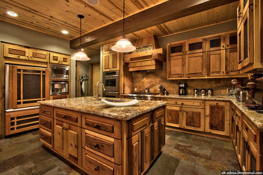 Mountain style home decorated in rustic style Rustic kitchen designs