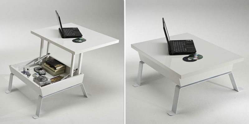 Lovely Small Coffee Table Converts To Desk