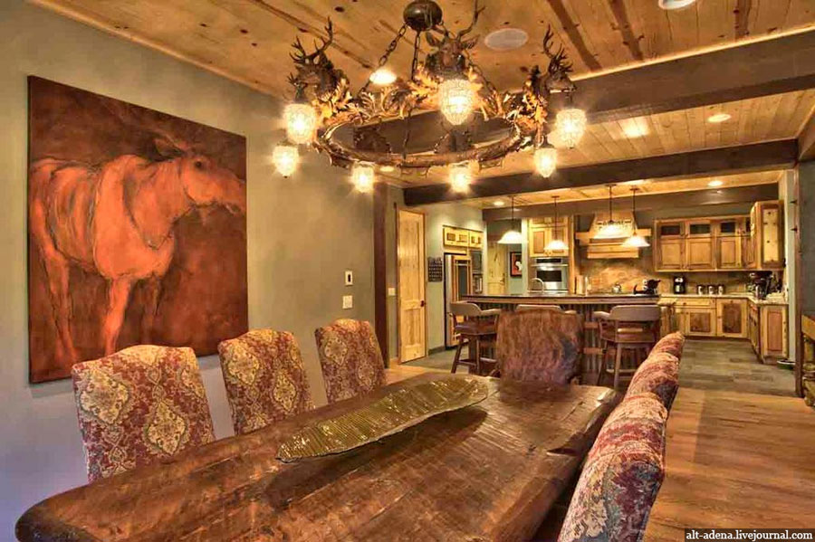 wood interior design decorated in rustic style
