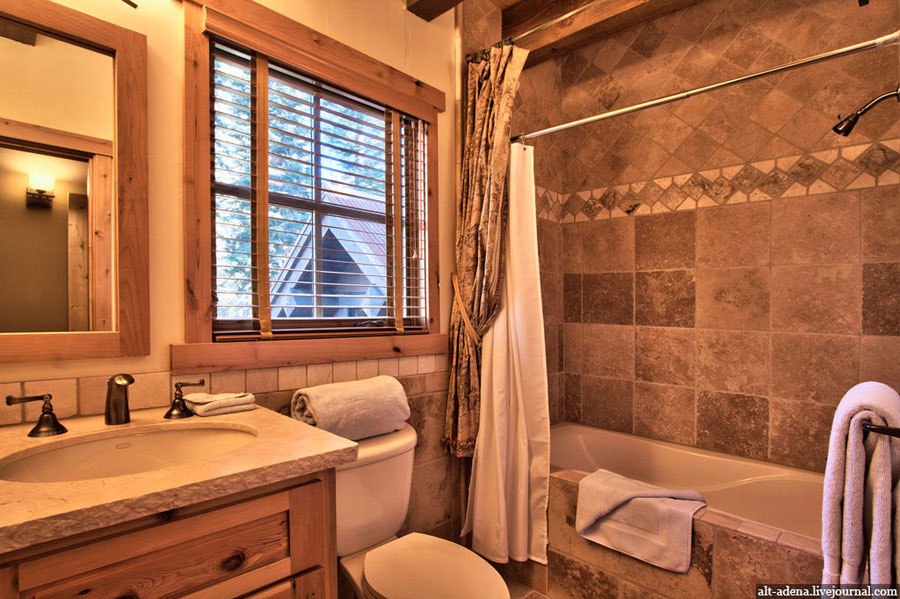 wooden house bathroom design